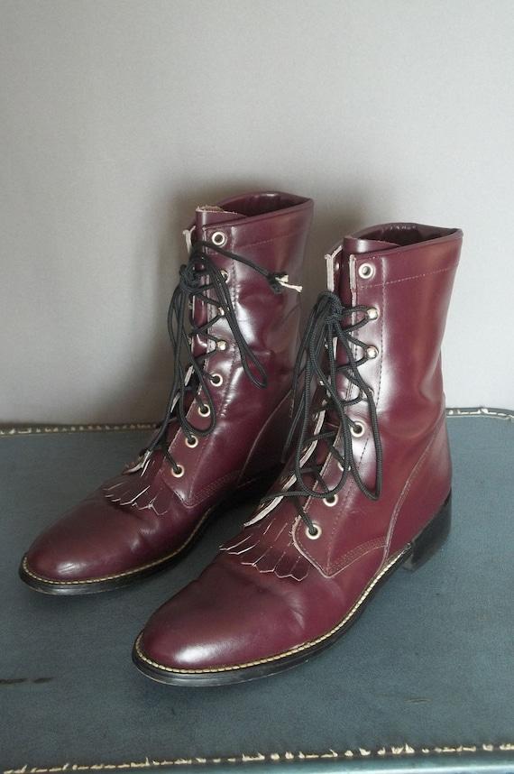 Vintage Diamond J PURPLE OXBLOOD COMBAT Fringe Boots. Men size 7.5 Women size 9 (40 Euro)