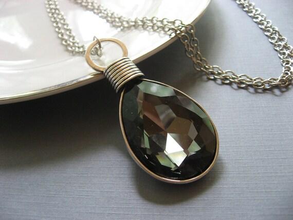 Long Black Pendant Necklace, Statement Necklace