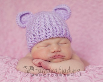 Crochet Baby Bear Beanie Hat - Newborn to 12 months - Orchid - MADE TO ORDER