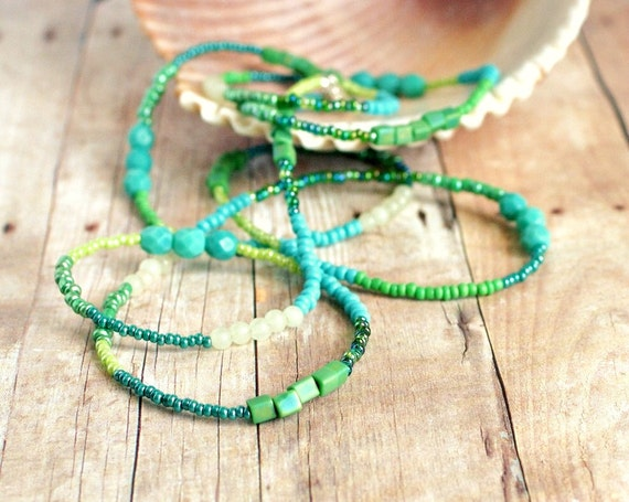 sea green long beaded necklace