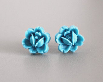 Titanium Flower Earrings, Ocean Blue Handmade Resin Rosettes on Hypoallergenic Titanium Posts/Studs