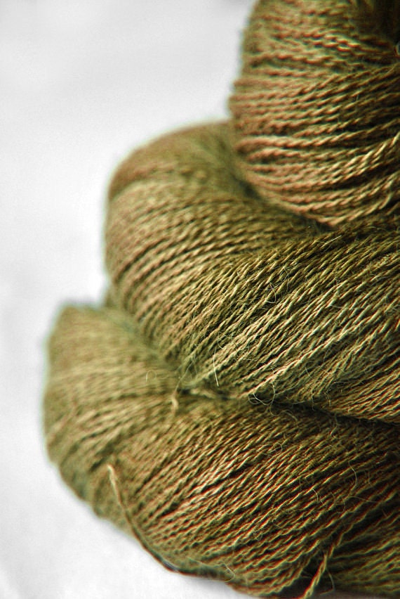 I dried the olive OOAK - Baby Alpaca / Silk yarn lace weight