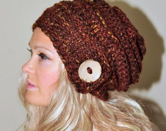 Slouchy Hat Slouchy Beanie Button Hand Knit Winter Adult Teen Wool CHOOSE COLOR Autumn Print Neutral Chunky Gift under 50
