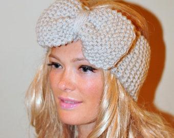 Big Bow Ear Warmer  Crochet Headband Turban Head wrap Earwarmer Linen Ivory Vanilla Neutral Nature Gift under 50