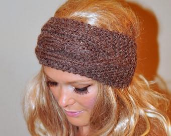 Ear Warmer WOOL Crochet Headband Head wrap Earwarmer Brown Neutral Nature  Christmas Gift under 50