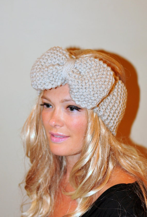 Big Bow Ear Warmer  Crochet Headband Turban Head wrap Earwarmer Linen Ivory Vanilla Neutral Nature Gift under 50