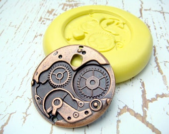 Steampunk Gears Medallion (with bail hole) - Flexible Silicone Mold - Push Mold, Polymer Clay Mold, Resin Mold, Craft Mold, PMC Mold