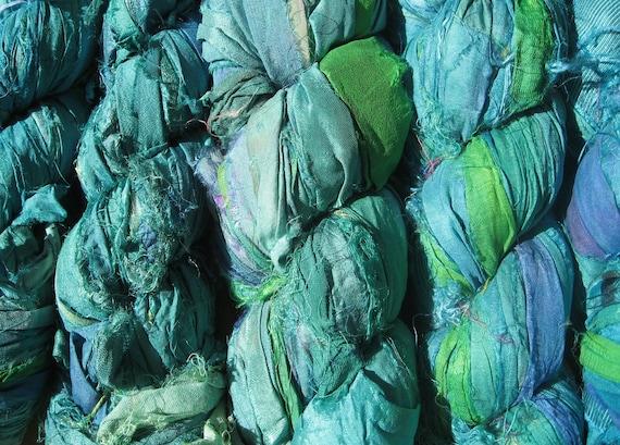 SALE - Recycled Sari Silk Ribbon -  Sea Dream