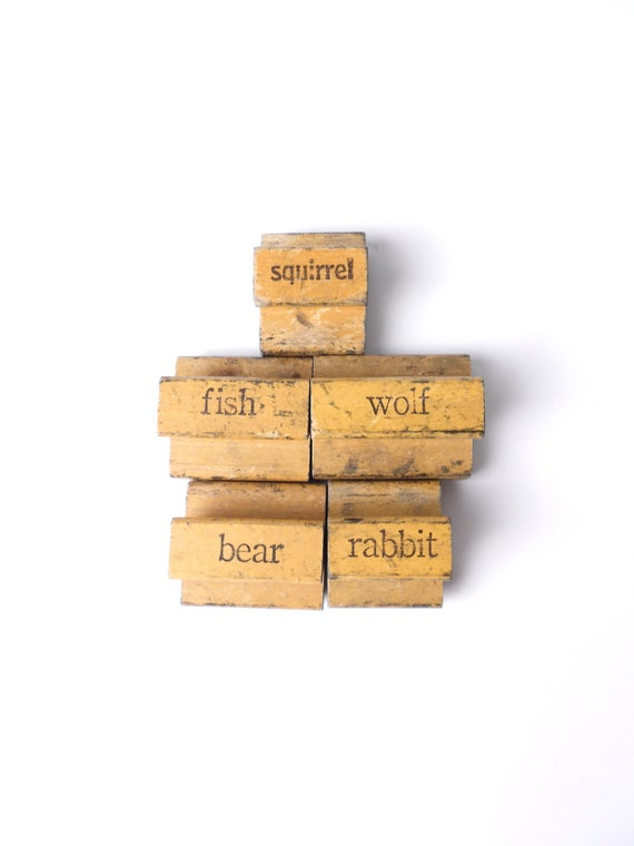 Antique Wooden Animal Word Picture Stamps--Set of 5