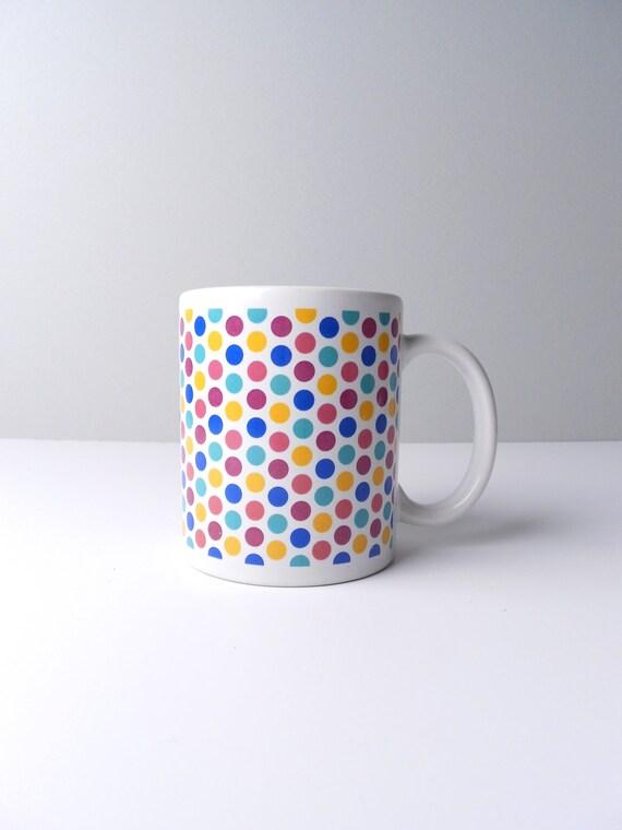 sale...White Polka Dotted Ceramic Coffee Mug