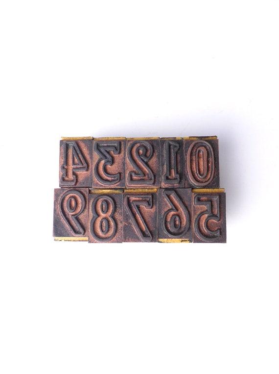 Antique Wooden Rubber Number Stamps--Set of 10
