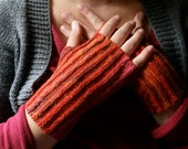 Pink'n'Red Sparkle: Hand knit Fingerless Gloves