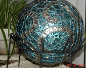 Stained Glass Mosaic Gazing Ball in Van Gogh Blue with Copper and Mirrored Jewels