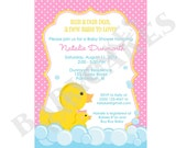 Rubber Ducky Baby Shower Invitation rubber duckie girl pink yellow duck - DIY Print Your Own - Matching Party Printables available.
