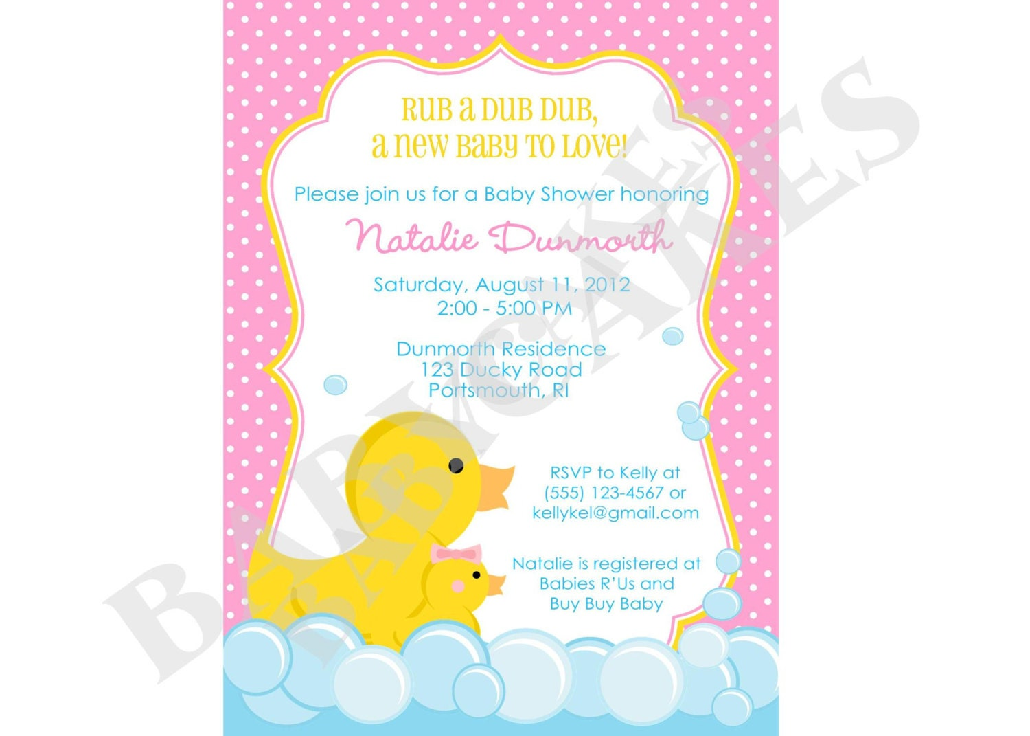 Rubber Ducky Baby Shower Invitation rubber duckie girl pink