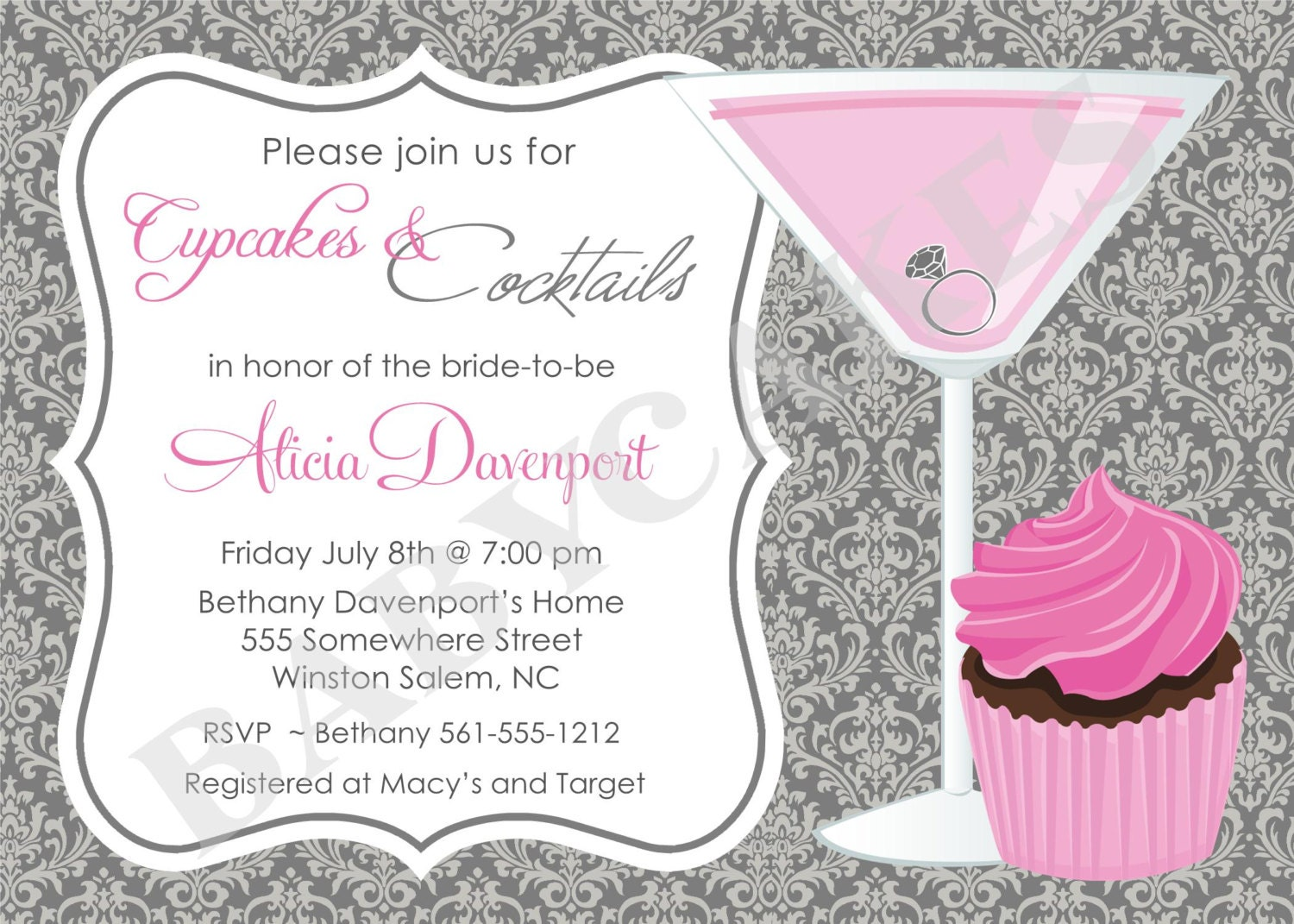 Wedding Shower Invitation: Cupcakes And Cocktails Bridal Shower Invitation By Jcbabycakes