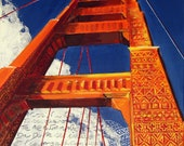 "Golden Gate Bridge Original Painting, San Francisco, Vertigo, Tribal Mixed media Writing 16""x 20"", Free Shipping in USA."