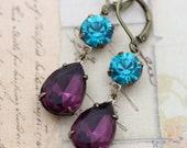 Earrings Purple Teal Amethyst Earrings Blue Zircon Turquoise Earrings Peacock Bridesmaids Earrings Dangle Earrings Clip On Earrings Avail