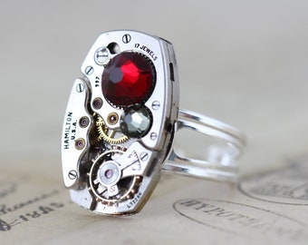 Steampunk Ring Steam Punk Jewelry Red Sterling Silver Clockwork Siam Couture Retro Jewelry -  Handmade by Inspired by Elizabeth