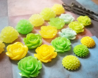 Bobby Pins and Flower Cabochons Kit Do It Yourself Assorted Colors Antiqued Bronze or Silver Hair Pins Kit 30 pieces YOU PICK