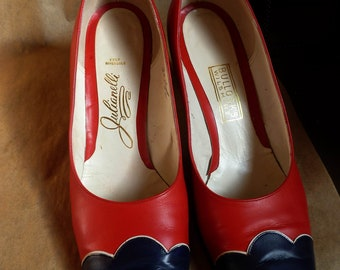 rare 1960's JULIANELLI handmade Leather Pumps, Red, white and Blue, 7 1/2 B, Rock-a-billy