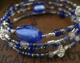 Beaded Memory Wire Bracelet Cornflower Blue Glass