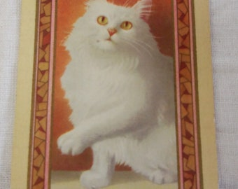 1930's Playing Card Set 4-White Cat-Swap Card- Altered Art