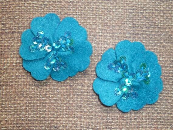 Felt Flowers - Felt Sequin Centered - Turquoise - Set of TWO