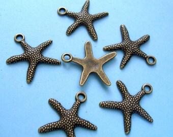 10pcs-Antique Bronze Plated Starfish Charm, Pendant.