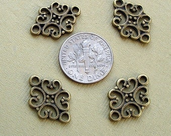 20pcs-Pendant, Charm Connector Flower  Antique Bronze 12x19mm.