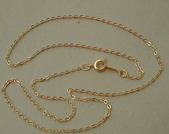5pcs-Chain Gold  Plated, Flat Oval Link Spring Clasp Ready to Wear-17.5inch.