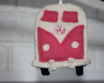 VW bus ornament - recycled felted wool