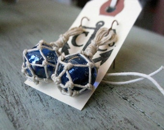 Miniature Fishing Float Earrings - Royal Blue