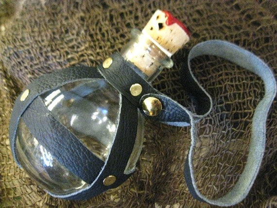 Pirate/Steampunk Glass Round Bottle, Flask,  Navy Blue Leather-Wrapped