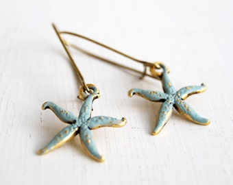 Starfish Earrings Blue Verdigris Patina Starfish Dangle Earrings Rustic Vintage Style Starfish Jewelry Ocean Inspired Beach Wedding Jewelry