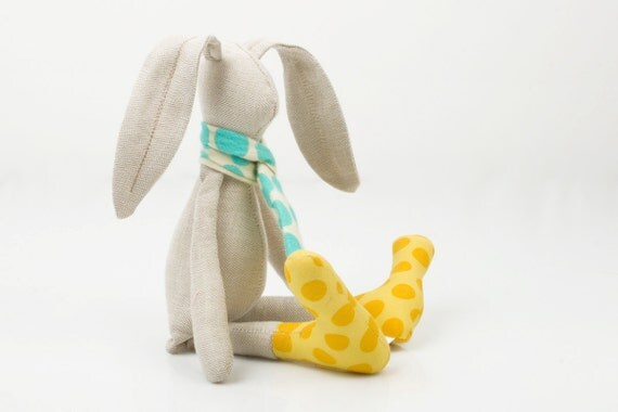 Autumn plush small beige  rabbit wearing scarf dotted turquoise  with yellow boots -  handmade fabric doll
