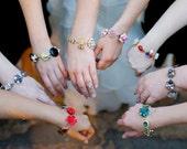 Bridesmaid Gift, Set of 9, Set of Nine, Reclaimed Vintage Bracelets, Color Choice, Unique, Original,OOAK, Custom Wedding Jewelry, Under 35