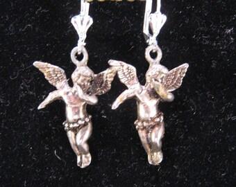 Vintage Earrings, Angel Earrings, Silver, Pewter, Reclaimed Earrings, Statement Earrings, Recycled, Pierced, Jennifer Jones, Cherub - Angels