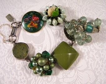 Bridesmaid Gift, Gift Under 40, Vintage Earring Bracelet, Cluster Earrings, Reclaimed, Upcycled, Repurposed, OOAK, Green - Sage