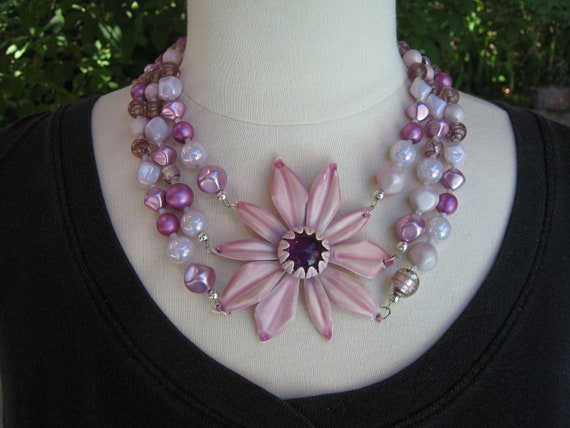 Statement Necklace, Vintage Necklace, Wedding Necklace, Vintage Enamel Flower, Layered - HUGE SALE - De Lovely