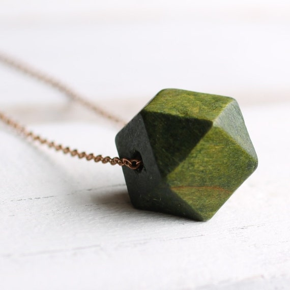 Green Geometric Necklace ...  Forest Wood with Fine Brass Chain