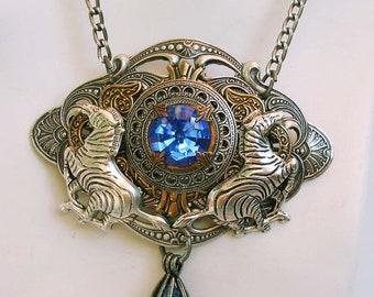 Blue Swarovski Crystal Zebra Victorian Necklace