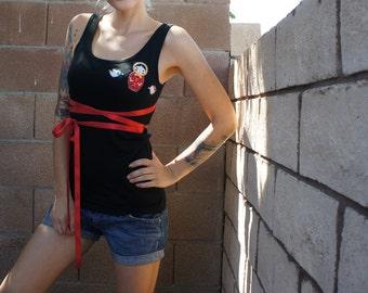 Olivia Paige -Tank top russia doll/ birds