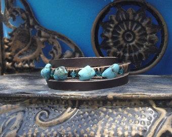 Wild jungle freeform Turquoise gemstone and Turquoise swarovski beads leather bracelet