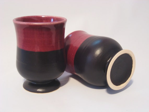 Goblet Set for Two - Handmade Pottery Burgandy Red and Black Wine Goblets,Tumbler Cups