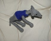 Plush handmade knitted greyhound with removable sweater