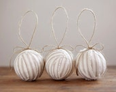 RagBall Ornaments - Rustic, Natural Cotton Ticking - Set of 3