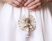 Golden Angel - Handmade Clothespin Doll Ornament made with Vintage Sheet Music