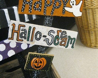 Jez4U Custom Halloween Signs on a stake to stick in your yard for a REAl Scream Listing Includes 2 signs and a little wood pumpkin sign