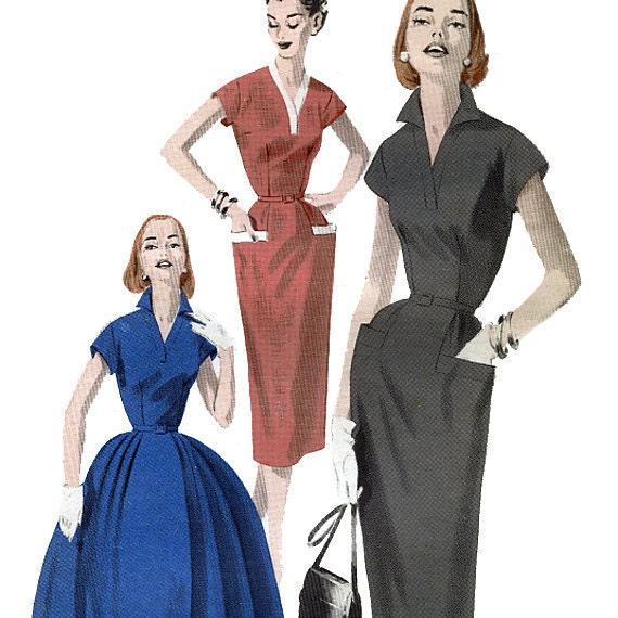 Butterick 7750 Vintage 50s Misses' Tailored Dress with Slim or Full Skirt Sewing Pattern - Uncut - Size 16 - Bust 34